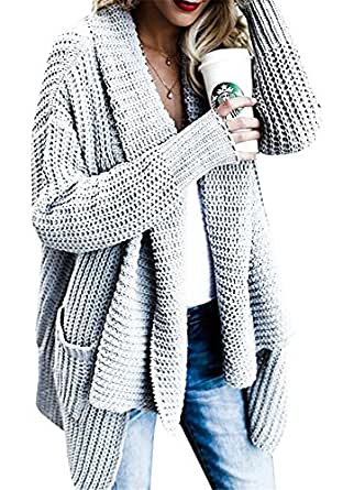 Huiyuzhi Women's Loose Fit Long Sleeve Knit Outerwear Sweaters Cardigans With Pockets