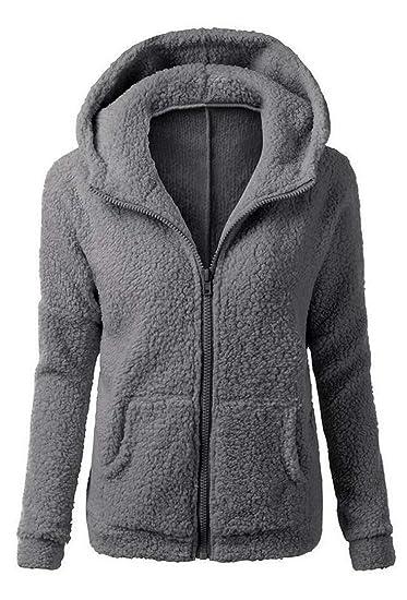 Sweatjacke Fleece Vertvie Kuschelig Hoodie Weiche Schöne Pullover Winter Herbst Jacke Damen Mantel 8nNwm0