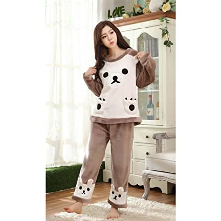Pyjamas Suit Flannel Plush Robe Women Warm and Comfortable Home Service  Pyjama 75aa82d24