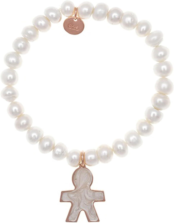 Córdoba Jewels | Pulsera en Plata de Ley 925. Diseño Niño Nácar Perla Oro Rosa