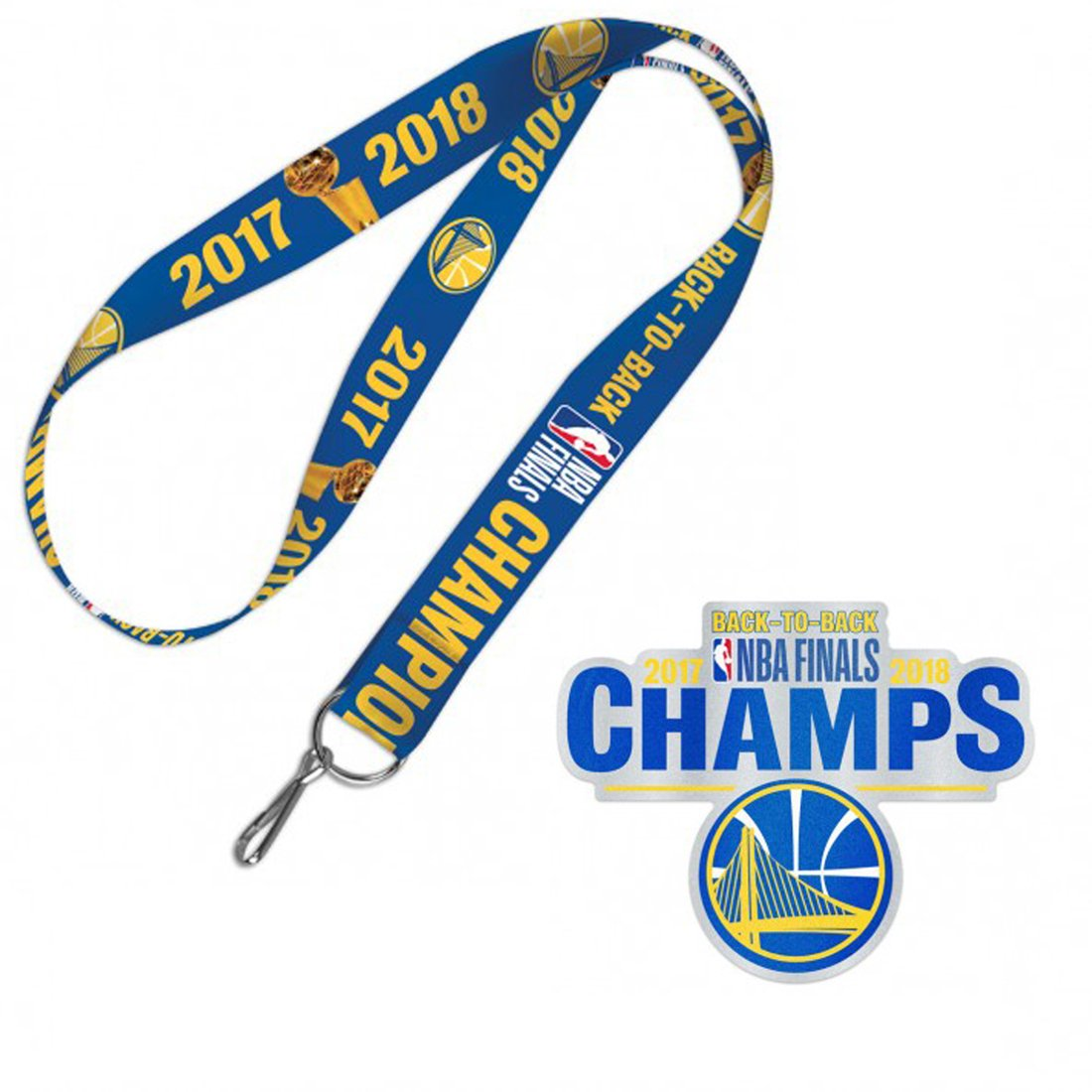 WinCraft Bundle 2 Items: Golden State Warriors 2017-2018 Back to Back NBA Finals Champions 1 Lanyard and 1 Auto Badge Decal