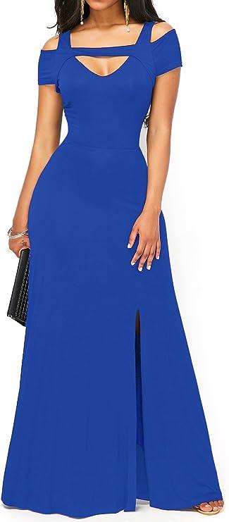 TALLA S. KISSMODA Vestido Sexy de Las Mujeres de con Cuello en V Falda Formal de Moda del Hombro frío de Maxi Azul
