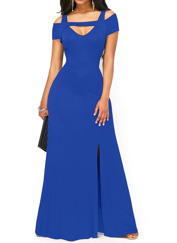 TALLA L. KISSMODA Vestido Sexy de Las Mujeres de con Cuello en V Falda Formal de Moda del Hombro frío de Maxi Azul