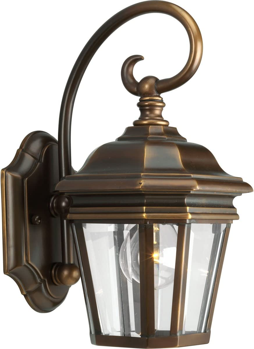 Progress Lighting P5670-108 1-Light Wall Lantern with Clear Beveled Glass Panels and Scroll Arm Details, Oil Rubbed Bronze