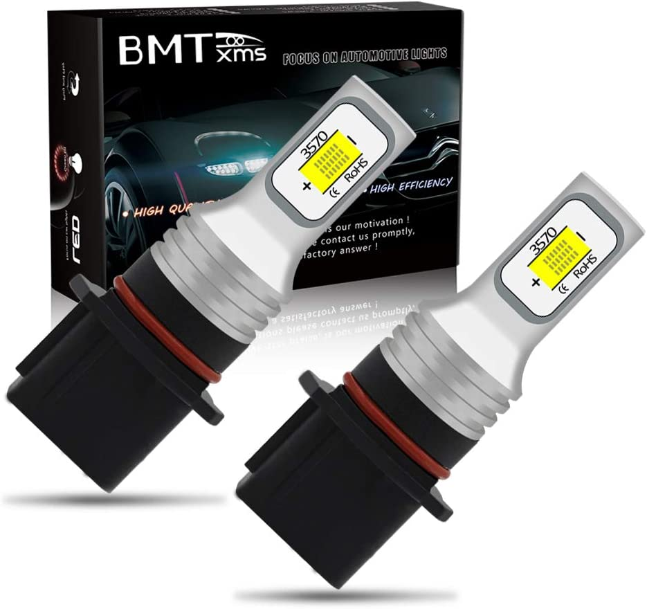 Pack of 2 White BMTxms H7 LED Fog Light Bulbs with Projector for Driving Daytime Running Lights DRL or Fog Lights