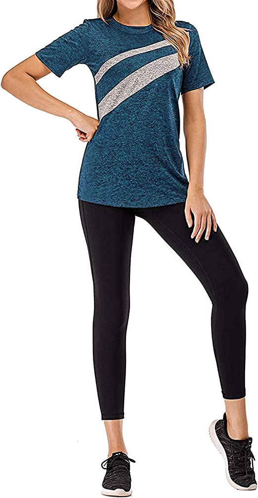 Vindery Womens Color Block Yoga Top Dry Fit Activewear Workout Shirt