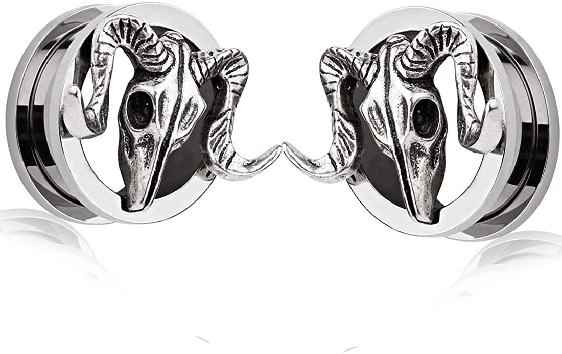 SUPTOP 2pcs Superb Ram Skull Ear Gauges Titanium Alloy Screw Plugs and Tunnels for Ears 2G - 1 inch
