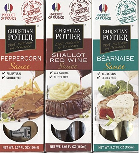 Christain Potier Gourmet Sauce Bundle of Three 5:07 Fl Oz: Peppercorn, Bearnaise, and Shallot Red Wine