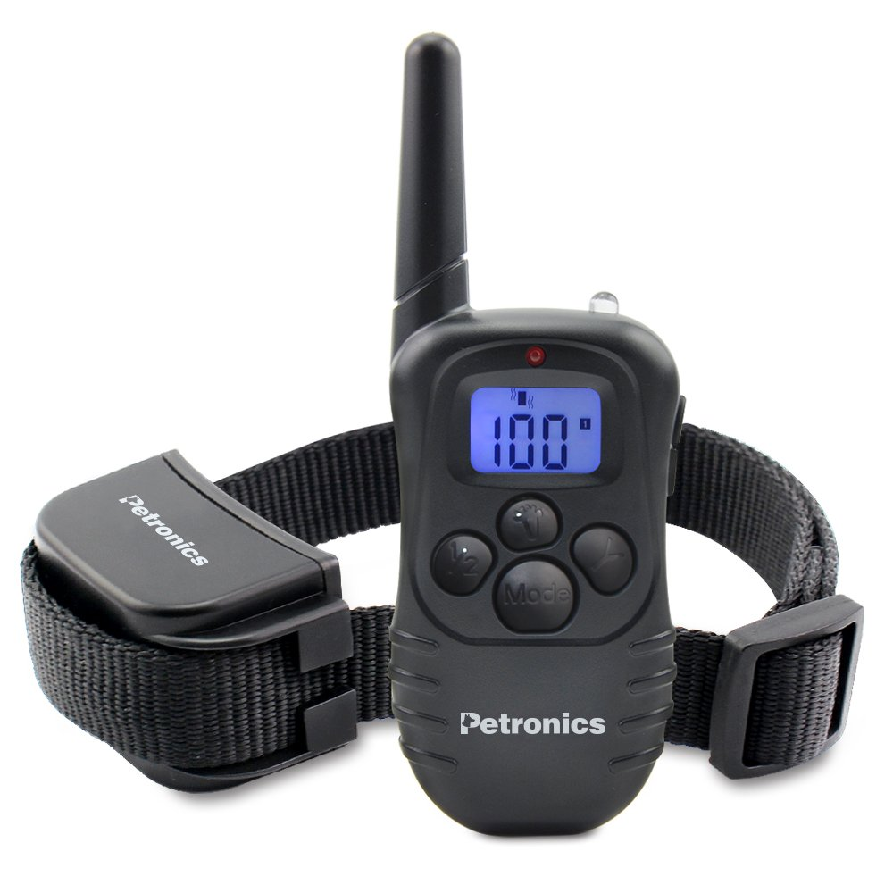 Petronics Rechargeable Shock Training Collar With Remote, Electronic For Large Dog With Static, Vibration, Beep And Light, 330 yd.