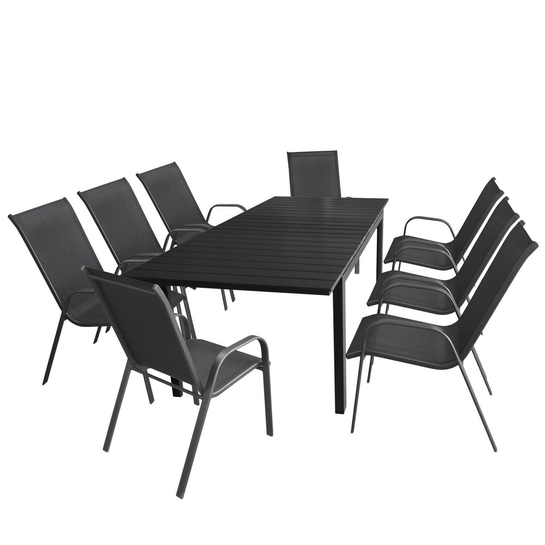 Multistore 2002 Gartengarnitur Ausziehtisch, 160/210x95cm, Aluminiumrahmen in Schwarz, Polywood-Tischplatte in Schwarz + 8X Gartenstuhl, stapelbar, Textilenbespannung Anthrazit