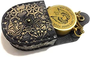 NauticalMart Brass Compass Nautical Embossed Leather Case Engraved So You Can Always Be Able to Find Your Way Home to Me Wedding Gift for Groom | Boyfriend | Husband | Son | Anniversary or Occasions