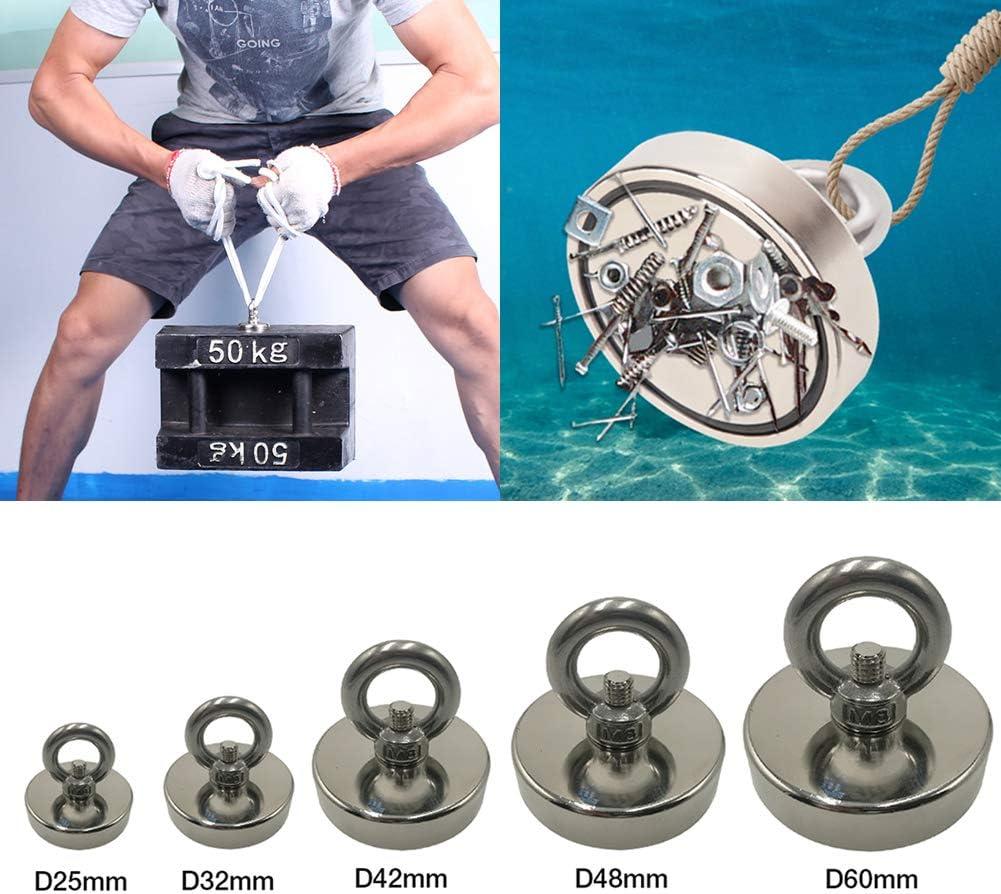forza di trazione magnete al neodimio per pesca e salvataggio nel fiume forte magnete rotondo con occhiello JJ.Accessories