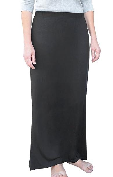 Amazon.com: Kosher Casual modesto Straight Maxi Falda W/Back ...