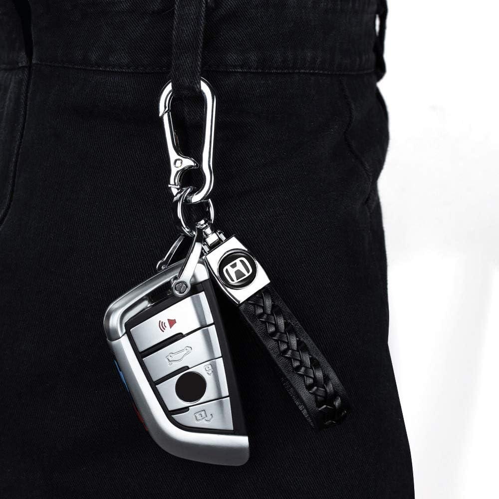 1Pack Leather Key Chain Suit for Honda Accord Civic CR-V CRV Pilot EX EX-L Touring Premium KeyChain Keyring with Logo key lanyard