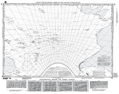 NGA Chart 63: Great Circle Sailing Chart Of S. Pacific (TRADITIONAL PAPER) 32.5 x 43