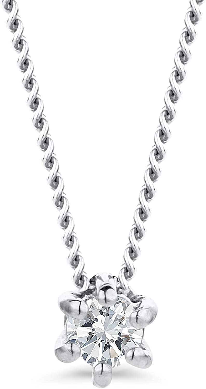 Orovi - Cadena de diamante para mujer de oro blanco, collar con colgante de diamante solitario de 9 quilates (375) y diamantes brillantes de 0,07 ct, 45 cm de largo, collar hecho a mano en Italia