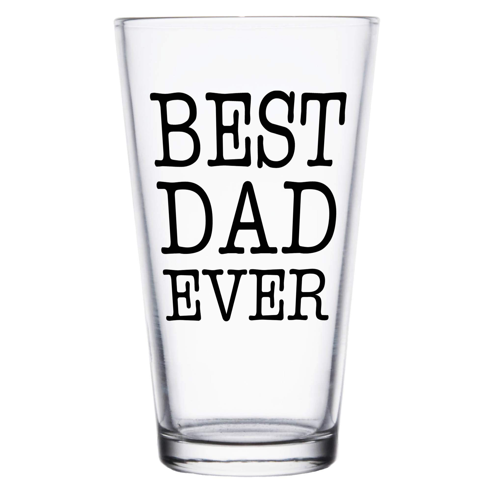 Shop4Ever Best Dad Ever Printed Beer Pint Glass ~ Father's Day Gift ~ (Black Print)