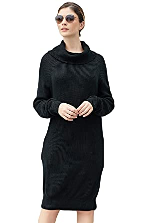 3c5cf462e1 METERDE Women s Cowl Neck Textured Knit Mini Sweater Dress at Amazon ...