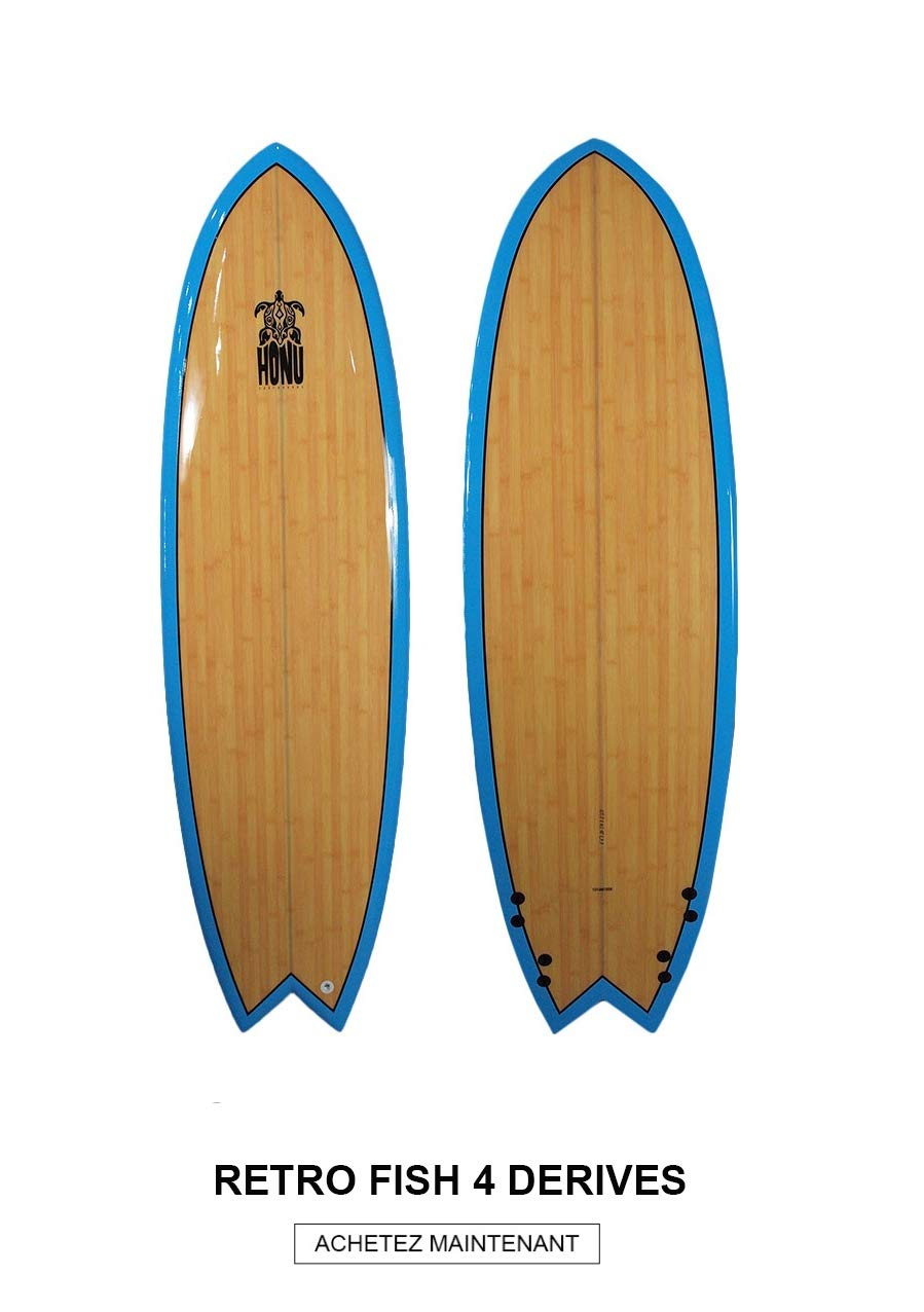 HONU - Tabla de Surf Fish 64, diseño Retro: Amazon.es ...