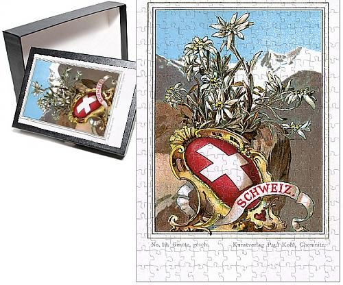 Photo Jigsaw Puzzle of Shield and flag of Switzerland with Edelweiss flower
