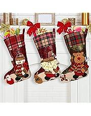 Kerst kous sok geschenkzak, 3 stuks grote sokken (42 * 22cm) Gift Bag Kerst Decoraties, Opknoping Kousen voor open haard, Xmas Tree, Seizoensgebonden Decor -Sok Gift Bag Candy, Kerstman, Sneeuwman, Rendier