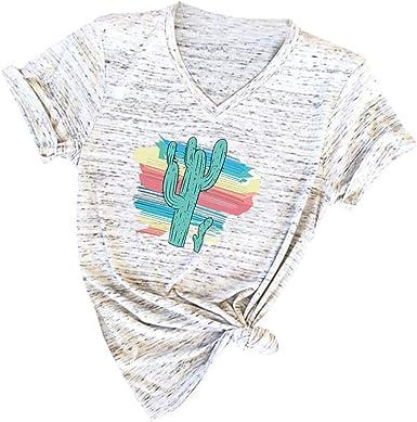 MISSWongg_Camiseta para Mujer Poliéster Cuello V Casual Camiseta Estampada Cute Cactus Estampada Verano Tops Originales Estilo Simple Manga Corta T-Shirt Ligeros Transpirables Mujer Blusas y Camisas: Amazon.es: Ropa y accesorios