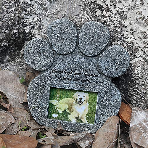 BJSM Pet Memorial Stone, Personalized Paw Shaped Pet Loss of Gift Have Sympathy Poem and Photo Frame Design Can Replaceable Photo, Meaningful Pet Memorial Stepping Stones
