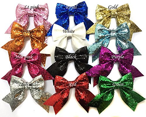 Yazon Glitter Hair Bows With Clips Baby Girl's Boutique Glitter Bows Hair Clips (glitter bows with clips (Glitter Bows)