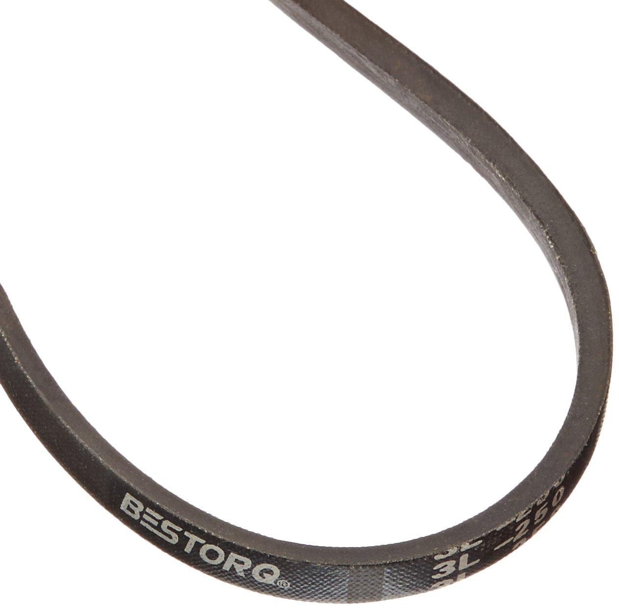 BESTORQ 3L250 Rubber V-Belt 25 Length x 0.375 Width x 0.23 Height Black Wrapped