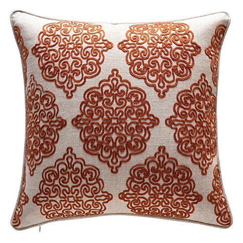 TINA S HOME Damask Crewel Rope Embroidery Linen Throw Pillow Charlotte Stitch Accent Pillow 18 x 18 inches, Rust Orange