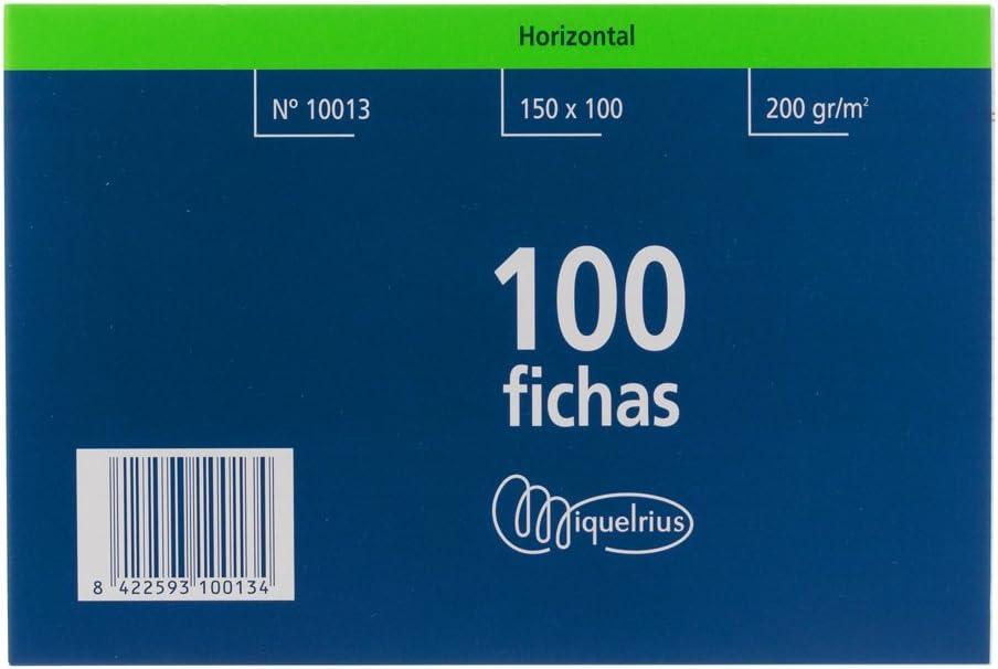 Miquelrius Número 3 - Fichas Rayadas, 100 Unidades, 100 x 150 mm