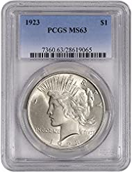 1923 US Peace Silver Dollar $1 MS63 PCGS