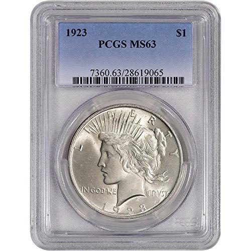 1923 US Peace Silver Dollar $1 MS63 PCGS (Peace Dollar Pcgs)