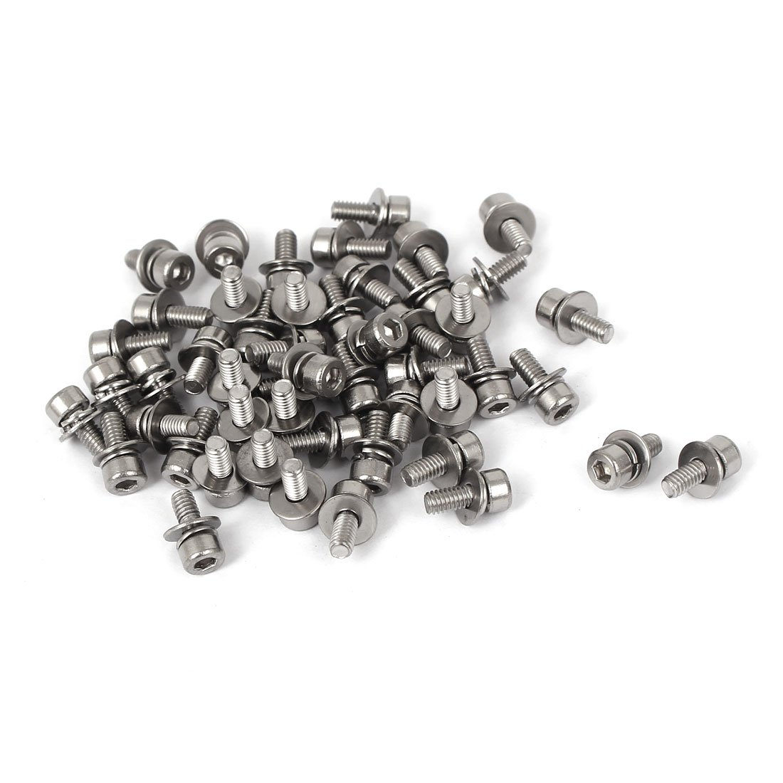 Uxcell a16042100ux1449 M2.5 x 6mm 0.45mm Thread Pitch Hex Socket Head Cap Screw w Washer 50pcs