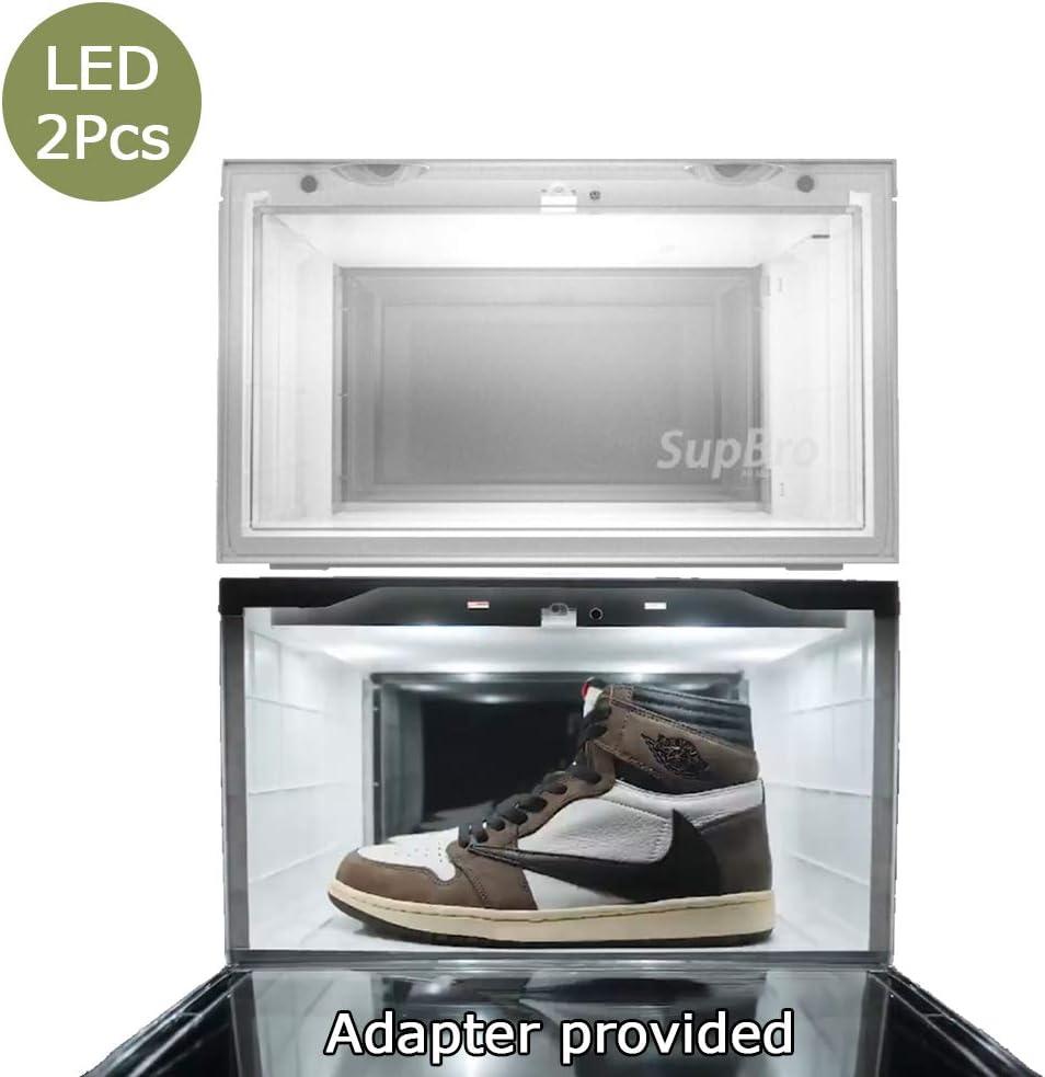 1 pcs no Adapter Supbro Led Storage Shoes Box Mens Womens Shoe Storage Box Plastic Acrylic Sneaker Display Box Shoe Container Shoe Organizer