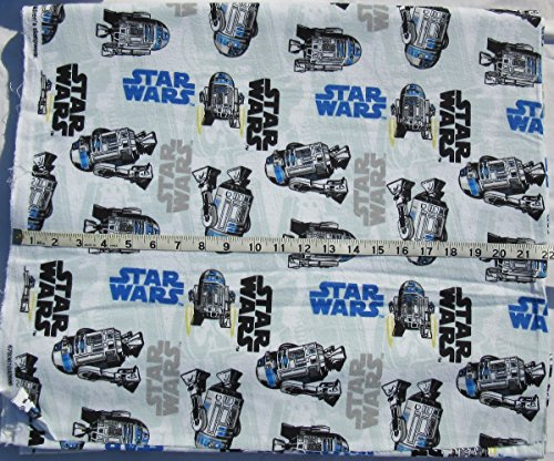 Star Wars 100% Cotton Flannel Fabric - R2D2 with Logo - Sold by the (R2d2 Fabric)