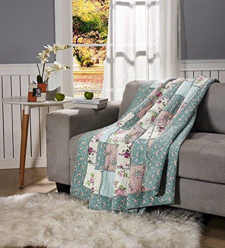 floral cotton quilt throw