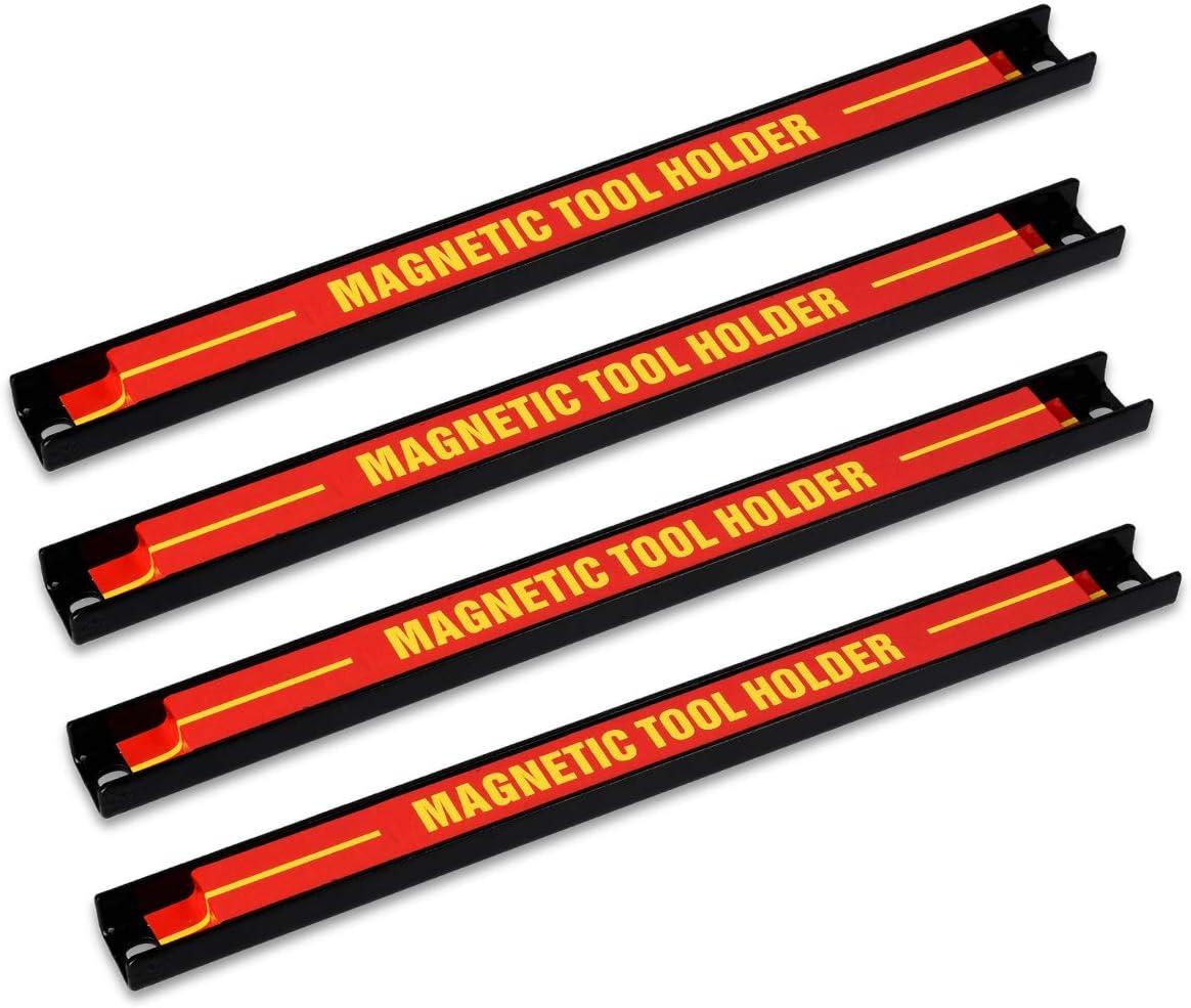 Navaris 4x tiras magnéticas para herramientas - Soporte magnético de cuchillos 30.5x2.3CM - Set bandas imantadas para cocina garaje jardín y taller