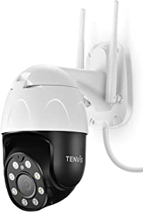 TENVIS Security Camera Outdoor - 1080P Home Security Surveillance IP Camera, Pan/Tilt 2.4G WiFi Camera, IP65 Waterproof, Night Vision, 2-Way Audio, Motion Detection, Cloud Camera, Works with Alexa