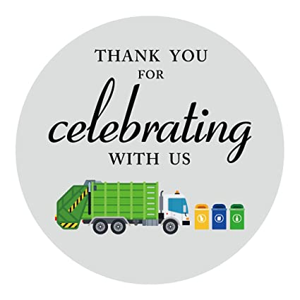 MAGJUCHE Garbage Trash Truck Party Thank You Stickers Boy Birthday Supplies Sticker Labels For Favors 2 Inch Round 40 Pack