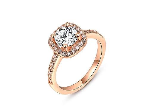 El nuevo oro rosa cuadrado redondeado anillo anillos de boda anillo de compromiso joyería al por mayor: Amazon.es: Joyería