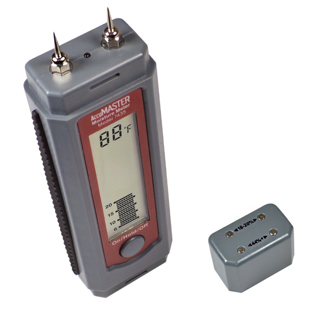 Calculated Industries 7435 AccuMASTER Moisture Meter for Wood and Firewood | Built-in Calibration Tester | 2 Spare Pins