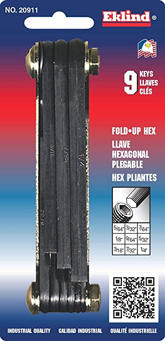 "EKLIND #812 FOLD-UP HEX KEY SET 3//32/"" TO 1//4/"" NEW IN PACKAGE"