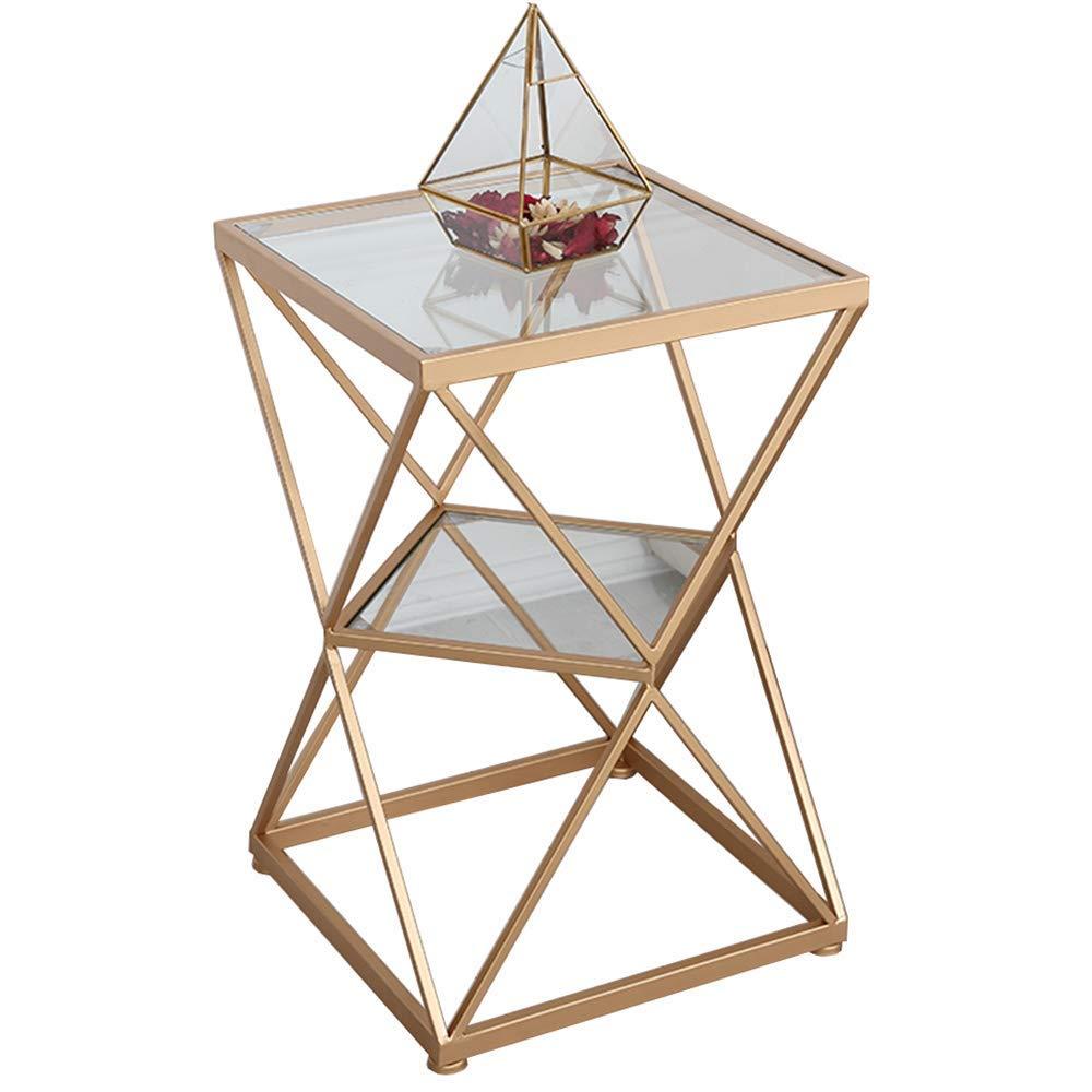 FEI - スタンディングデスク エンドテーブル、ソファーテーブル、ナイトテーブル、コーヒーテーブル、MDFラウンドステンレススチール スタンディングデスク (色 : ゴールド) B07PBSP8Q7 ゴールド