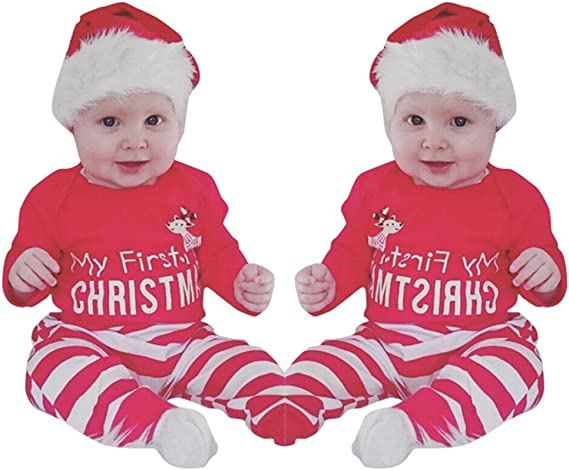 2Pcs Toddler Kid Baby Boy Girl Tops+Pants Outfit Christmas Household clothes Set