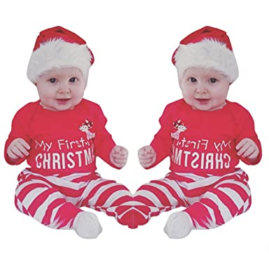 217921659333c Sixcup 2PCs My First Christmas Long Sleeves Romper Striped Clothes Set Xmas  Toddler Newborn Infant Baby Boy Girl Christmas Clothing Jumpsuit Outfit  Pajamas ...