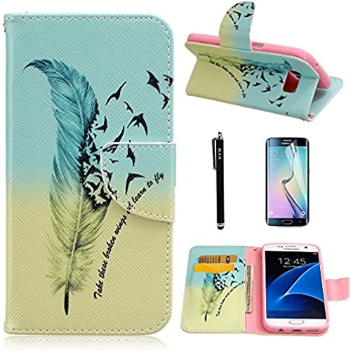 S7 Edge Case,Galaxy S7 Edge Case,HKW(TM) Feather Bird Folio PU Leather flip wallet Case cover with Card Holder Sales