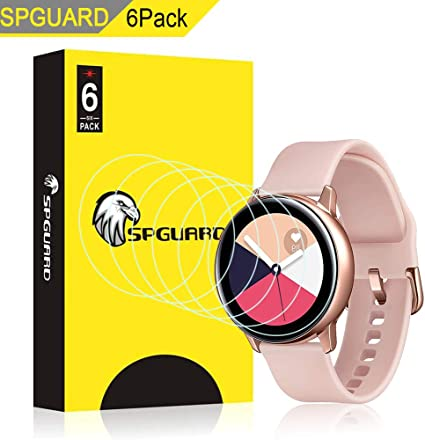 SPGuard Compatible with Samsung Galaxy Watch Active (40mm) LiQuidSkin Screen Protector [6 Pack], HD Anti-Bubble Screen Films for Galaxy Watch Active ...
