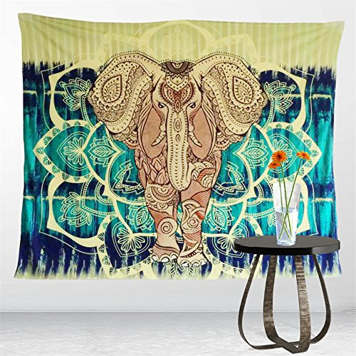Sleepwish Elephant Tapestry, Hippie Tapestry Wall Hangings, Lotus Mandala Wall Tapestry, Bohemian Wall Tapestries, Boho Elephant Bedding (59 x 79 inch)