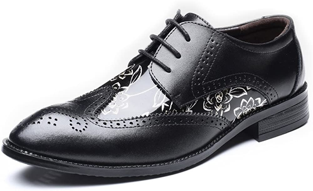FUHONG Mens Shoes Hollow Carving Splice Smooth Flower Pattern PU Leather Lace up Breathable Lined Oxfords Comfortable